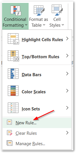 MONTH Function in Excel using conditional formatting step 2