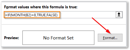 MONTH Function in Excel using conditional formatting step 4