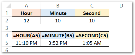 TIME Formula of Excel first example raw dara
