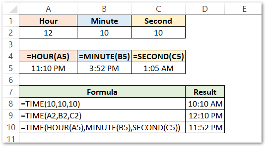 TIME Formula of Excel first example result