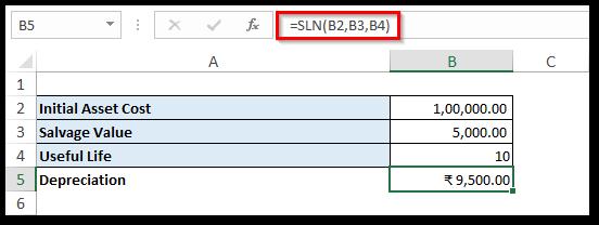 Using SLN Formula Excel - Calculate Depreciation