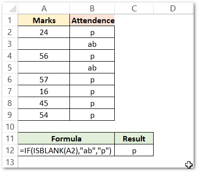 Using the ISBLANK Function with the IF formula Result