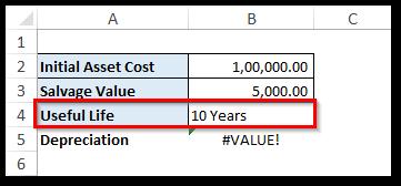 #VALUE! error SLN Function Excel