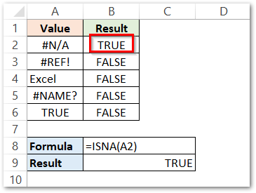 ISNA Function in Excel Simple Example Result