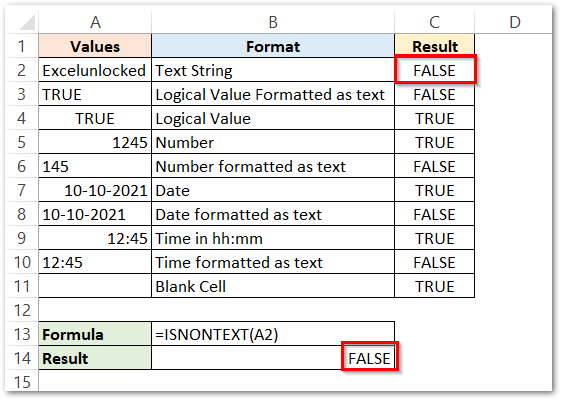 ISNONTEXT Function of Excel Passing arguments result