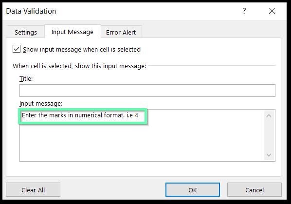 ISNONTEXT formula used to do data validation Input message