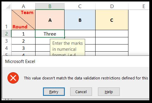 ISNONTEXT formula used to do data validation error