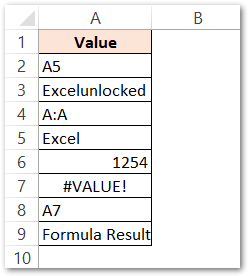 ISREF Function of Excel Simplest Example raw data