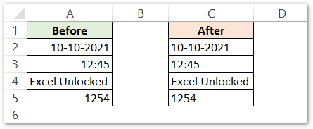 ISTEXT Function in Excel Example 1 raw dara