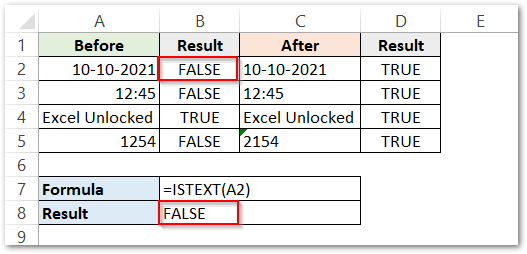ISTEXT Function in Excel Example 1 result