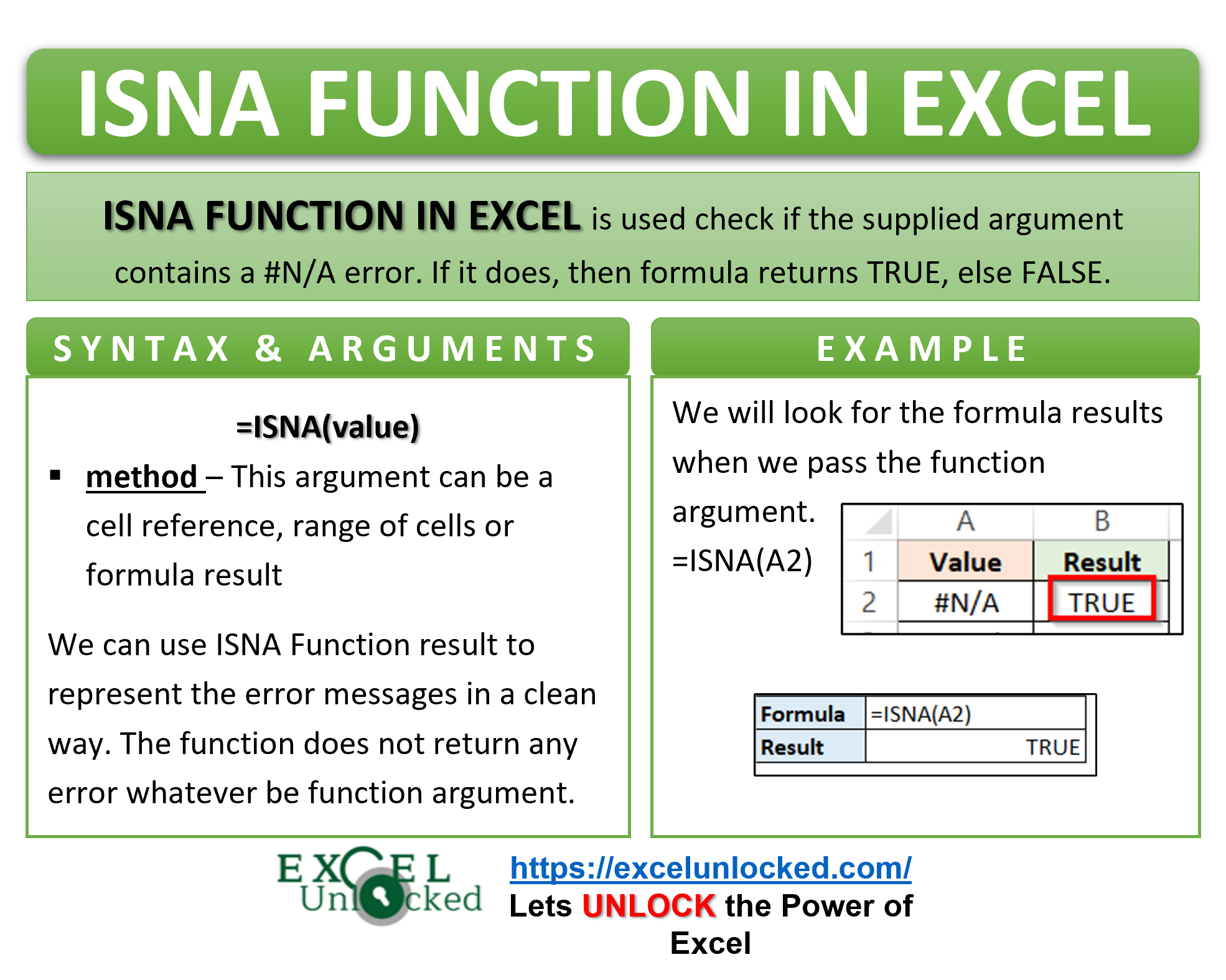 Infographic - ISNA Formula Function in Excel