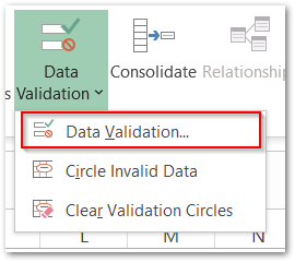 data validation with ISNUMBER Function Step 1