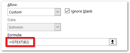 istext function of Excel - Applying data validation text values only step 3