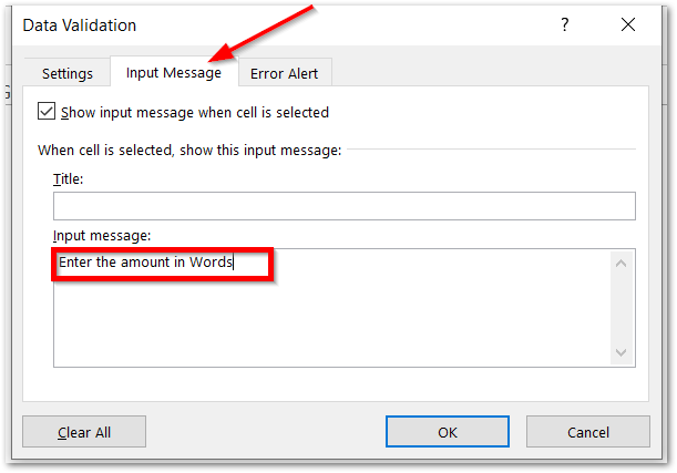 istext function of Excel - Applying data validation text values only step 4