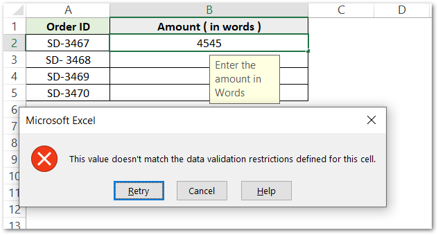istext function of Excel - Applying data validation text values only step 6
